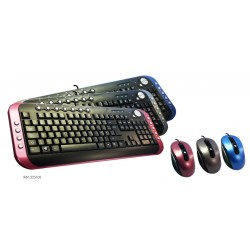 "Pack clavier multimédia + souris filaire -  USB - MetalColor - ""ELYPSE"""