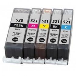 Lot 5 cartouches compatibles Canon PGI-520Bk + N°CLI521Bk+C+M+Y - Avec puce - Encre Noire + Cyan + Mag + Jn