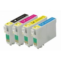 Lot 4 cart. compatibles Epson T1285 (Renard) - Encre N/C/M/J