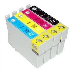 Lot 4 cart. compatibles Epson T18XL (Maguerite) - Encre N/C/M/J