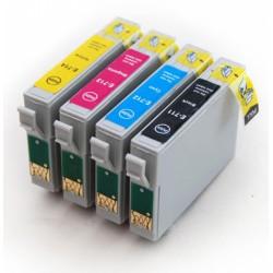 Lot 4 cart. compatibles Epson T715 (Guépard) - Encre N/C/M/J
