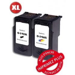 Pack 2 cartouches recyclées Canon - PG540XL + CLI-541XL - Noire + 3 couleurs