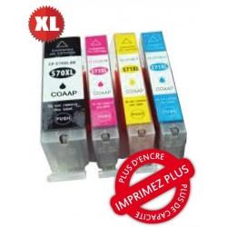 Pack 4 cart compatibles Canon - PGI-570Bk+CLI-571 C+M+J - Noire/Cn/Mg/Jn