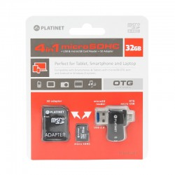 Pack 4 en 1 Micro SD 32Gb + Lecteur de cartes USB & OTG Micro USB + Adaptateur SD - PLATINET