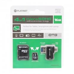 Pack 4 en 1 Micro SD 16Gb + Lecteur de cartes USB & OTG Micro USB + Adaptateur SD - PLATINET