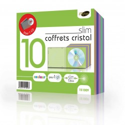"""Lot de 10 coffrets cristal couleur fins pour 1 CD """"ELYPSE"""""""