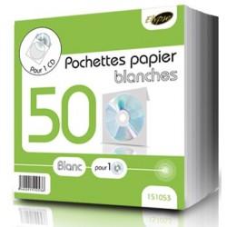 """50 pochettes blanches papier avec fenêtre pour CD/DVD - """"ELYPSE"""""""