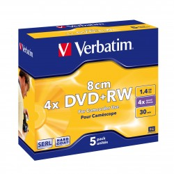 """5 Mini DVD+RW 8cm 1.4 Go """"VERBATIM"""" - coffret cristal fin - 1-2x - 43565"""