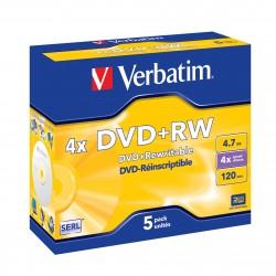 "5 DVD+RW 4.7 Go ""VERBATIM"" - coffret cristal - 4x / CB à l'unite - 023942432289 - 43229"