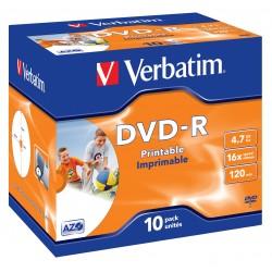 """10 DVD-R 4.7 Go """"VERBATIM"""" - SUPERAZO- IMPRIMABLE - Coffret cristal - 16x - 43521"""
