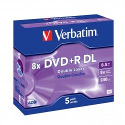 """5 DVD+R double couche 8.5 Go - """"VERBATIM"""" - SUPER AZO - Coffret cristal - 8x - 43541"""