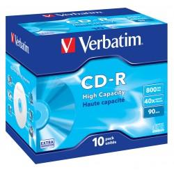 "10 CD-R 90Min 800Mb - ""VERBATIM"" Extra Protec - Coffret cristal - 40x - 43428"