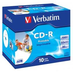 "10 CD-R 80Min 700Mb - ""VERBATIM"" - SUPERAZO- IMPRIMABLE - Coffret cristal - 52x - 43325"
