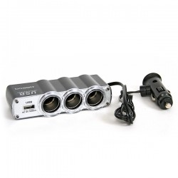 Triple prises allume-cigare 12V + 1 port USB