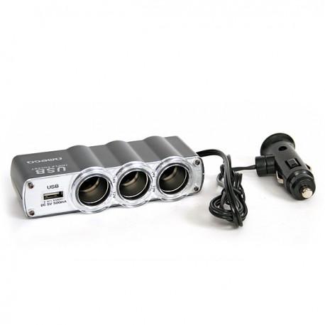 Triple prises allume-cigare 12V + 1 port USB