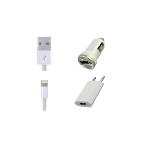 Kit de chargement - iPhone 5 - iPad Mini - New iPad - câble + chargeurs 2A (secteur+allume cigare)