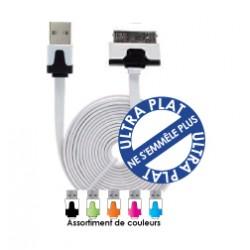 Cordon USB Plat chargement/synchro / iPhone 3/4 - iPad 1/2 - iPod - Led - 1.00m